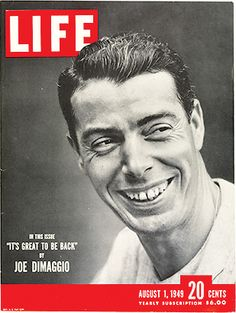 A old Joe DiMaggio Life Magazine, with a Jackie Robinson story inside. DiMaggio, c. During the streak, DiMaggio played in seven doubleheaders. Joe Dimaggio, Go Yankees, New York Yankees, Life Magazine, Vintage Magazines, Vintage Ads, Life Cover, Jackie Robinson, Journal