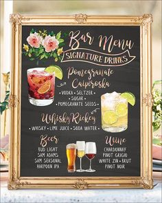 Digital Printable Wedding Signature Drinks Sign, Wedding Signature Cocktail Sign, Chalkboard Bar Menu, Wedding Cocktails Bar Signs    #WeddingSundaeStudio #WeddingSundae  #wedding #weddings #signs #sign #signage #bar #menu #signature #drinks #drink #cocktails #cocktail #watercolor #chalkboard  #boho #bohemian #floral #flowers #botanical #foliage   #romantic #rustic #modern #woodland #outdoor #backyard   #food #illustration #alcohol #hisandhers #calligraphy #pomegranate #Caipiroska