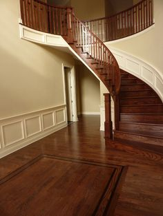 Red Oak - Jacobean and Ebony stains featuring Maple Borders - 85755 Design Ideas & Pictures Red Oak Floors, Hardwood Floors, Flooring, Iron Staircase, Staircase Ideas, Wood Floor Design, Home Remodeling, Jacobean, House Design