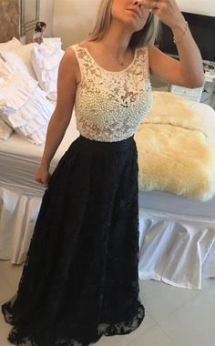 Floor-length A-Line Sleeveless Lace Prom Dresses 2017