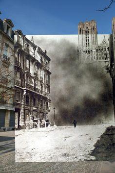 Catedral de Rheims , durante el bombardeo en Francia , 1917 . . .