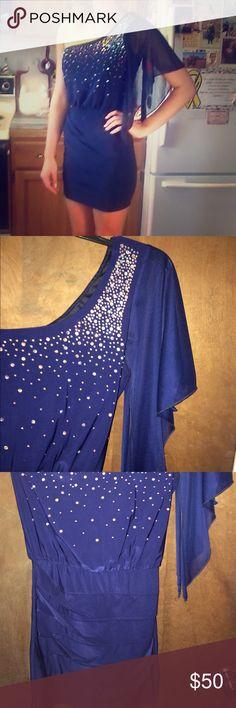 One-Shoulder Bedazzled Party Dress One-Shoulder, Navy, Rhinestones, Plain back, worn ONCE! Deb Dresses One Shoulder