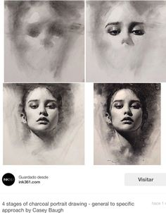 Estudio de rostro con carbón