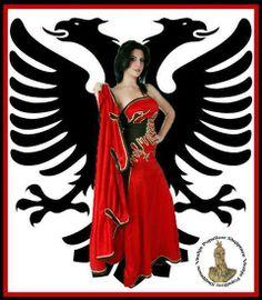 Girls From Albania-Red Dresses Flag Albania