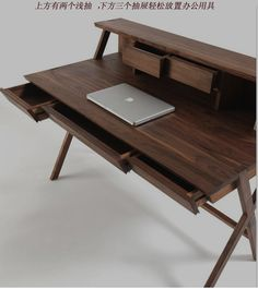 黑胡桃木书桌定制实木家具北欧电脑桌/写字台家用橡木梳妆台简约-淘宝网