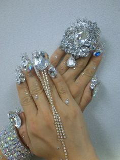If you're going to do nail art, you might as well go all the way. #nailart #accessories #bling