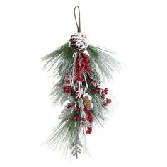 Pine Cones and Red Ball Ornaments 32 Inch Artificial Mixed Pine Christmas Teardrop Swag with Snow Crystals Berries
