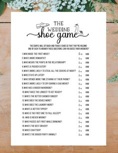 Shoe Game Wedding, Wedding Games For Guests, Cute Wedding Ideas, Games For Weddings, Country Wedding Games, Wedding Party List, Wedding Table Games, Different Wedding Ideas, Wedding Day Tips