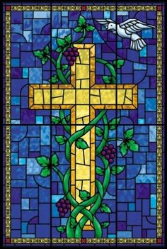 1 - Stained Glass Cross Art