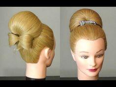 Прическа: Бабетта с бантом из волос.  Bun with hair  bow for long hair
