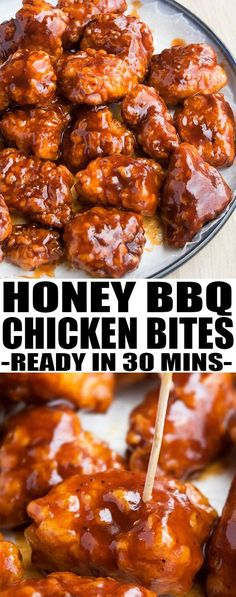 Baked honey BBQ chicken bites are made with tender chicken pieces rolled in a crunchy topping and covered in honey barbecue sauce. Quick and easy appetizer! From cakewhiz.com #appetizer #gamedayfood #gameday #chickenrecipes #bbq #recipe #partyfood