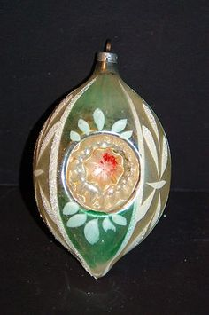 VINTAGE WEST GERMANY BLOWN MERCURY GLASS HAND PAINTED INDENT CHRISTMAS ORNAMENT