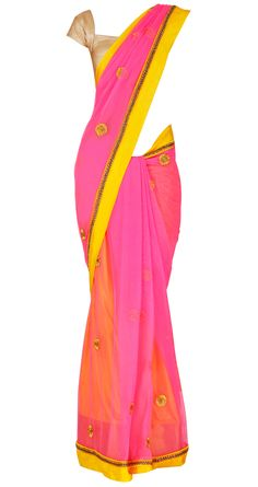 Pink net sari with a pure silk with kundan crystal border and gota flowers patched onto the sari. It comes with a yellow petticoat made of puresilk with a special gold weaved border from Kerala and a matching blouse piece.