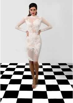 White Lace Cocktail Dresses 2017 High Neck Long Sleeves Lace Dress Knee Length Formal Prom Evening Party Gowns