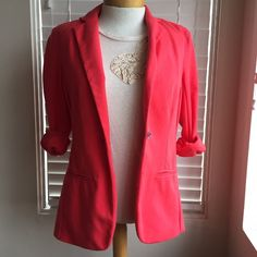Mossimo Cotton Coral Blazer Good condition. Slightly stretchy material. One button in front. Mossimo Supply Co Jackets & Coats Blazers