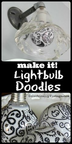 #Doodle Lightbulbs #Sharpie Crafts Tutorial - such graphic pop art for any light!  eclecticallyvintage.com