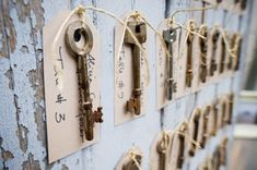 """First- skeleton key escort cards and then """"keys"""" to a happy marriage note written on the back"""