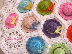 Crochet Baby Blanket Colorful Mini Hat Pattern DIY by MariMartin