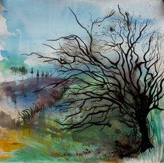 Derrière il y a demain, peinture technique mixte aquarelle et encre de Chine sur papier 50X50 cm : Peintures par clau-mandarine