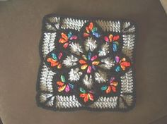 Ravelry: My Stain Glass Window Afghan pattern Another pretty granny square Granny Squares, Crochet Squares Afghan, Crochet Motifs, Crochet Blocks, Granny Square Crochet Pattern, Knit Or Crochet, Crochet Granny, Crochet Crafts, Crochet Stitches