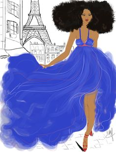 Eiffel Tower in Blue and Black. #brown and black people girl  in Paris #Eiffel tower.  #red shoes