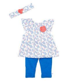 Look at this #zulilyfind! Blue & White Geometric Angel-Sleeve Dress Set - Infant by Rosie Pope Baby #zulilyfinds