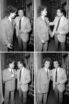 """Behind-the-scenes photos of Eric Carmen backstage with long-time """"American Bandstand"""" host Dick Clark 1987"""
