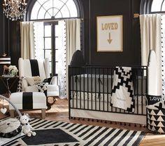 Nursery Black Furniture Crib Gold Baby Dark