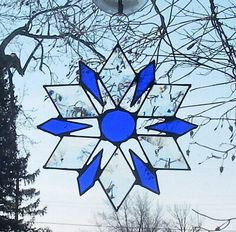 Beveled Glass Suncatcher Star or Snowflake Handmade With Cobalt Blue Accents Sunflower Mandala, Sun Catcher, Beveled Glass, Blue Accents, Red Glass, Stained Glass Windows, Pattern Books, Cobalt Blue, Snowflakes