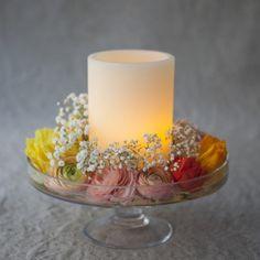 Photophore de cire led et quelques fleurs... Comment réaliser ce DIY ultra simple !