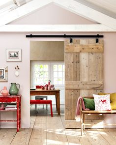 rustic barn door, red accents