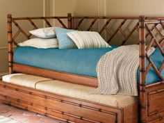 Wicker Daybed With Trundle Rattan Daybed, British Colonial Decor, Daybed With Trundle, Guest Bed, Guest Rooms, Bamboo Furniture, Faux Bamboo, Home Bedroom, Bedrooms