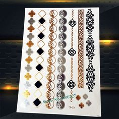 1PC Waterproof Temporary Tattoo Sticker Gold Color PYS-47 Gold Silver Chains Henna Bracelet Tattoo Paster Sexy Women Flash Tatoo