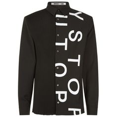 McQ Alexander McQueen Pleated Broken Text Shirt ($405) ❤ liked on Polyvore featuring men's fashion, men's clothing, men's shirts, men's casual shirts, mens casual button down shirts, mens leather button up shirt, mens slim fit casual shirts, mens leather button down shirt and mens casual button up shirts