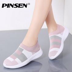 PINSEN 2020 New Fashion Sneakers Women Shoes Breathable Mesh Slip-on Flat Shoes Women Plus Size Loafers Shoes zapatillas mujer Jeans And Sneakers, Girls Sneakers, Casual Sneakers, Girls Shoes, Casual Shoes, Women's Casual, Shoes Sneakers, Shoes Heels, Ice Cream Sneakers