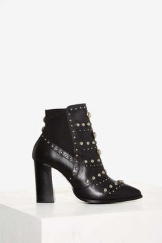 Nasty Gal Skyler Studded Leather Bootie - Grunge