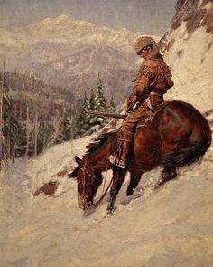 Western Art - Horse and Mountain Man - Phoenix Art Museum Rocky Mountains, Le Castor, Mountain Man Rendezvous, Phoenix Art Museum, Hunting Art, West Art, Le Far West, Indian Paintings, Horse Art