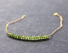 vesuvianite stones - beaded bar gold bracelet