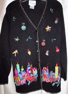 Christmas Sweater The Quacker Factory Ugly Beautiful Black Small Black Colorful #TheQuackerFactory #Cardigan