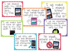 Acceptable Use Policies & Posters for iPads! I love the parent/student contract.
