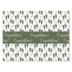 Hunter Green Baby Footprints and Hearts Tissue Paper