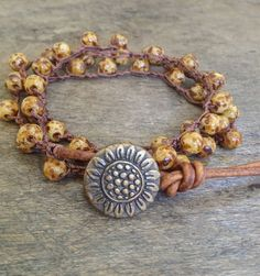 "Sunflower Multi Wrap Crochet & Leather Bracelet ""Beach Chic"""