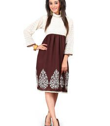 Buy Beige and Brown Embroidered Chiffon kurtas-and-kurtis kurtas-and-kurti online