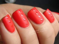 Red Manicure Ideas - Nail Art Inspiration with Red - Good Housekeeping matte with shiny dots