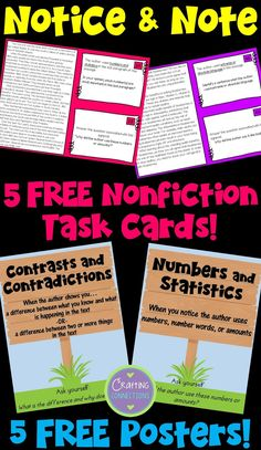Notice and Note Nonfiction Signposts: FREE Resources Comprehension Activities, Reading Strategies, Reading Skills, Teaching Reading, Reading Comprehension, Reading Books, Notice And Note, Student Teaching, Teaching Tips