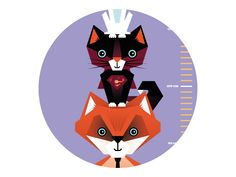 """@Behance: """"Paper growth chart with lion, fox, cat and rabbit"""" by Pia Kolle"""