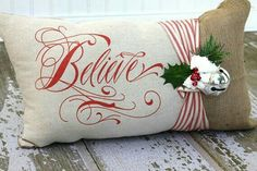 Polar Express Believe Lumbar Pillow Cover by MonMell Designs Christmas Sewing, Christmas Love, Christmas Projects, All Things Christmas, Christmas Holidays, Christmas Decorations, Christmas Ornaments, Xmas, Holiday Decorating