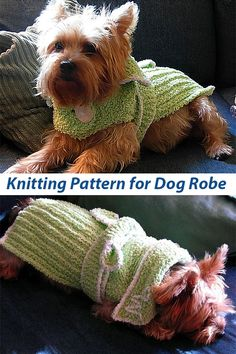 Knitting Pattern for Nighty Night Dog Robe Dog Crochet, Crochet Dog Sweater, Knitted Cat, Knitted Animals, Loom Knitting, Baby Knitting, Knitting Patterns For Dogs, Small Dog Coats, Knitting For Charity