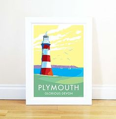 Plymouth Vintage Style Seaside Poster