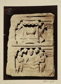 Pakistan (In the collection of Lahore Museum, photographed)  Descriptive line  Photograph depicting a relief with the figure of Buddha and a group of auditors, with an alms bowl above, Greco Buddhist (Gandhara School). India, ca. 1st to 2nd century A.D.